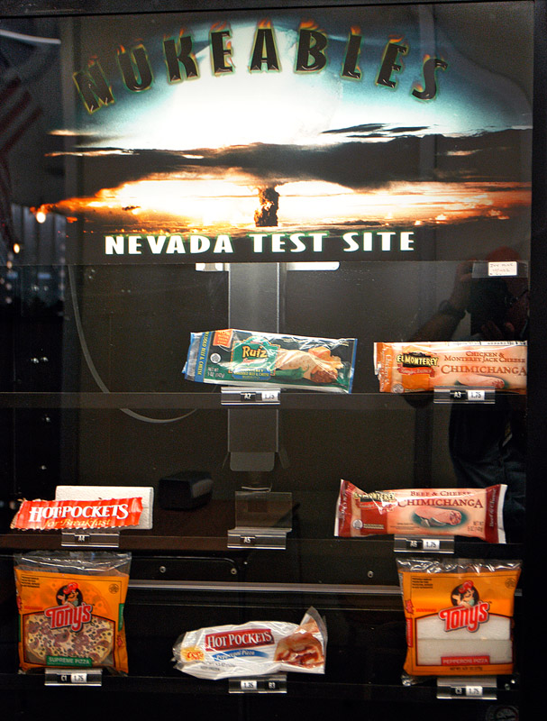 Nukeables. This is a vending machine for microwavable foods at the Nevada Test Sites cafeteria, in the town of Mercury.